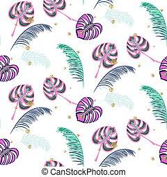 Monstera pink tropic plant leaves seamless pattern.