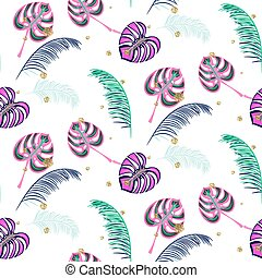Monstera pink tropic plant leaves seamless pattern.