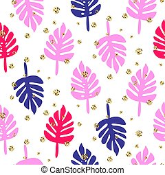 Monstera tropic palm pink and blue leaves seamless pattern.