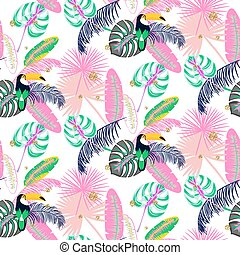 Monstera tropic pink plant leaves and toucan bird seamless pattern.