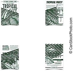 Monstera Tropical Exotic Bush Leaves Banner Vector