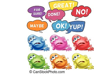 Monsters and speech bubbles