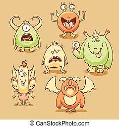 Monsters cartoon set