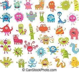 monsters., divertente, poco, set, grande
