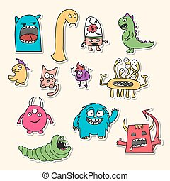 monsters., doodle, set, stickers