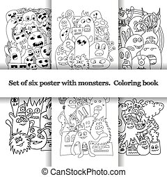 monsters., doodle, set, zes, model