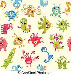 monsters., engraçado, ornamento, seamless