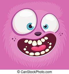 Monsters face cartoon goblin, gremlin, or troll avatar illustration vector stock
