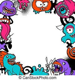 monsters., fondo, cartone animato