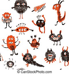 Monsters funny seamless pattern.