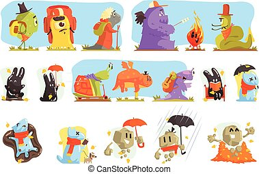 Monsters Hiking And Camping. Funky Creatures Colorful Characters With Walking Outdoors