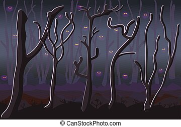 Monsters in dark forest. Scary haunted woodland.
