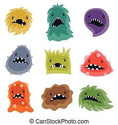 monsters., litet, sätta, virus, ilsket
