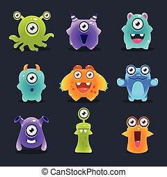 Monsters Lovely Vector Illustration