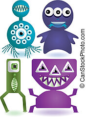 monsters, of, illustratie, schattig, set, aliens., vector, spotprent