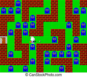 Monsters, retro style game pixelated graphics