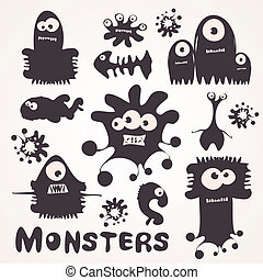 Monsters - Set of cartoon monsters. Vector illustration