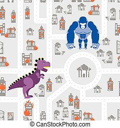 Monsters to destroy city seamless pattern. Godzilla and King Kong destroys building. Aggressive Dinosaur and big wild animal rage in town. Aggressive background.