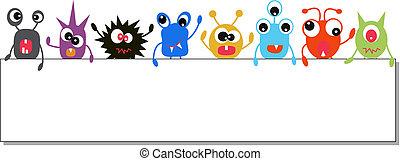 monsters, vasthouden, een, spandoek