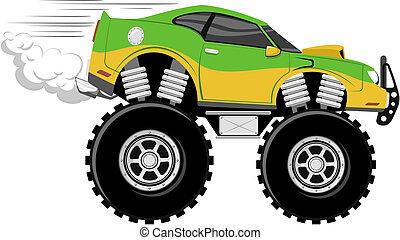 monstertruck race car 4x4 cartoon isolated on white ...