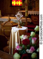 Monstrance in some lithuanian Roman Catholic church -...