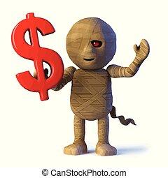 monstre, égyptien, momie, symbole, dollar, nous, a, 3d