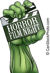 monstre, battant, horreur, zombi, planche, nuit, pellicule