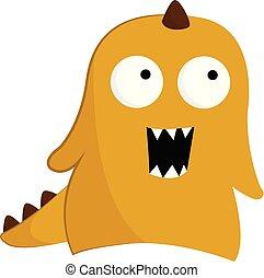monstre, couleur, jaune, sien, un-à cornes, colonnes vertébrales, vecteur, corps, ou, illustration.