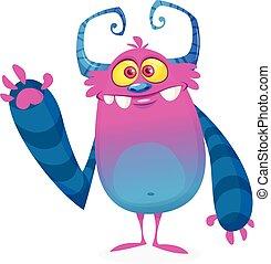 monstre, dessin animé, illustration, vecteur, waving., frais, rigolote