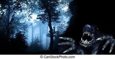 monstre, forêt, nuit