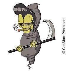 monstre, halloween, caractère, reaper, vector., nuit, sinistre