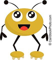 monstre, illustration., clipart, couleur, jaune, vecteur, ou, heureux