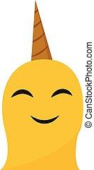 monstre, illustration., clipart, couleur, un-à cornes, vecteur, licorne, sourire, ou