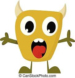 monstre, illustration., couleur, jaune, vecteur, crier, ou