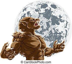 monstre, loup-garou, pleine lune, horreur, effrayant