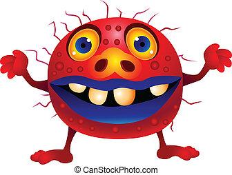 monstre, rouges, dessin animé