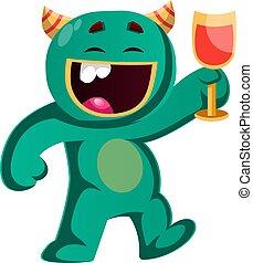 monstre, verre, illustration, applaudissement, vecteur, vert, tenue