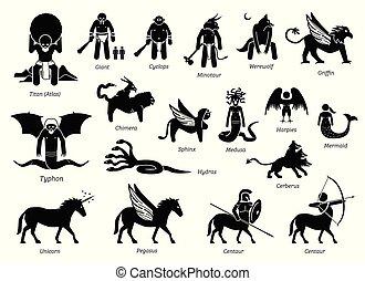monstres, ensemble, créatures, grec, ancien, icône, mythologie, caractères