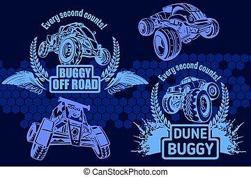 monstro, buggy, -, duna, vetorial, caminhão, emblema