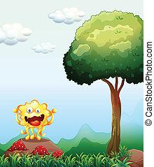 monstro, cogumelos, acima, rocha, sorrindo, vermelho