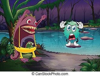 monstros, e, um, rio