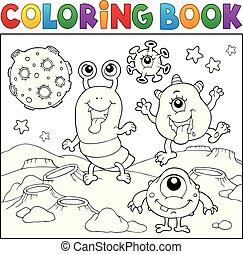monstros, tema, 2, coloração, espaço, livro