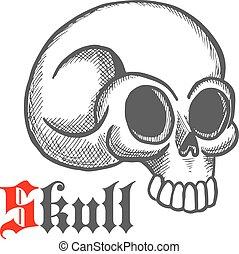 Monstrous human skull sketch symbol