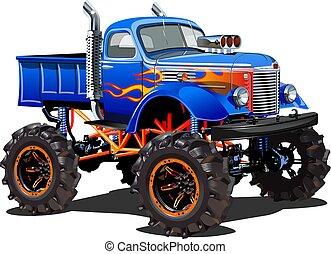 monstruo, aislado, caricatura, plano de fondo, blanco, camión