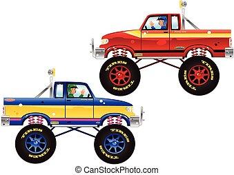 monstruo, camiones, y, driver.eps