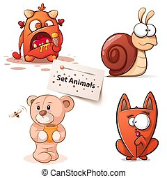 monstruo, caracol, -, gato, characters., oso, caricatura