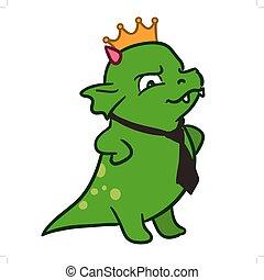 monstruo, corona, jefe, corbata, dragón, corporativo, caricatura