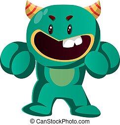 monstruo, enojado, ilustración, pelea, vector, verde, listo