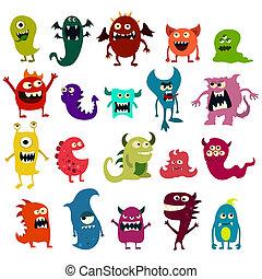 monstruo, lindo, juguete, colorido, Conjunto, caricatura,...