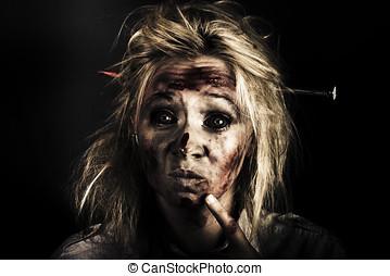 monstruo, mal, zombi, muerto, hembra, dolor de cabeza
